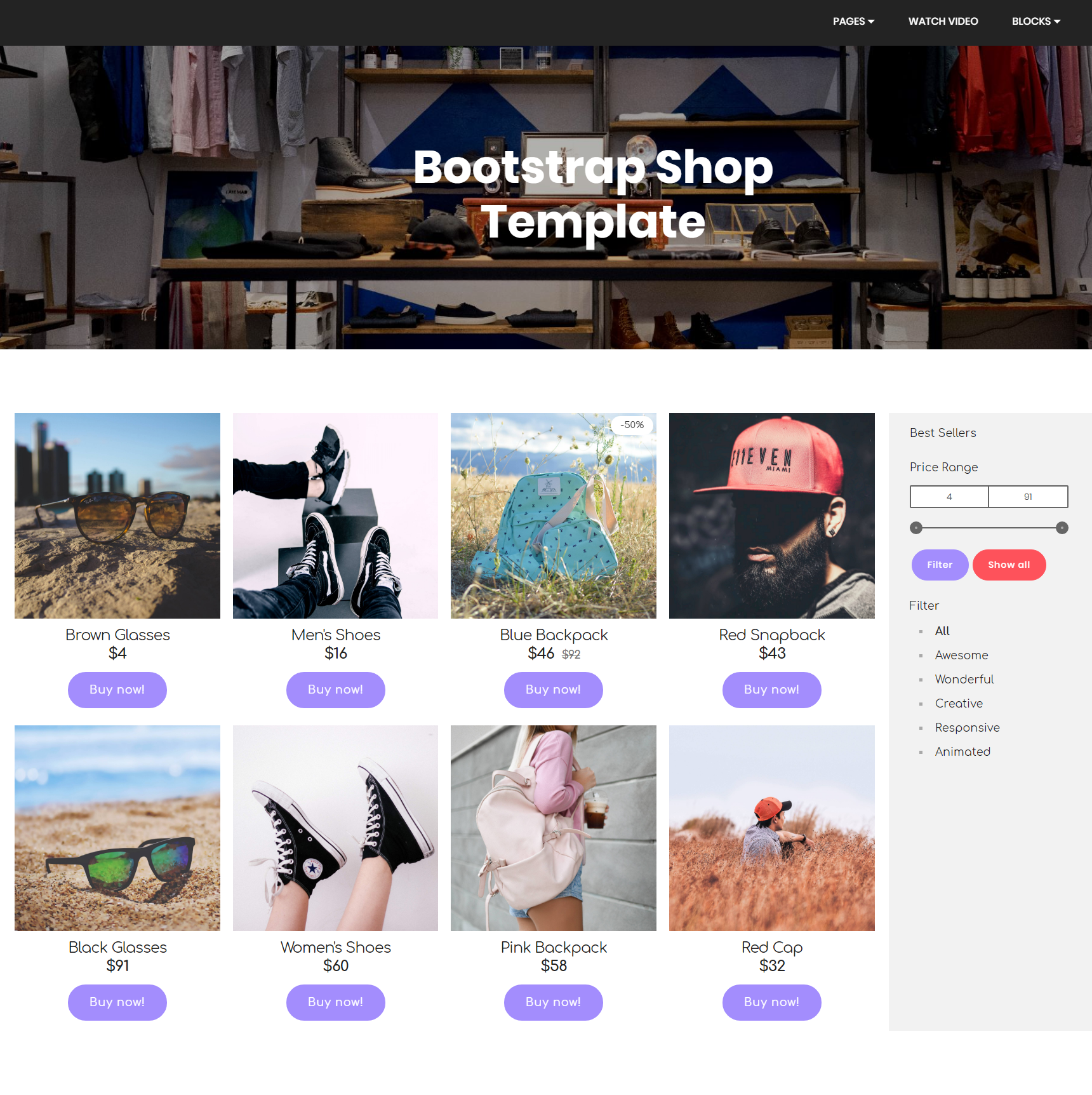 Free Download Bootstrap Shop Templates