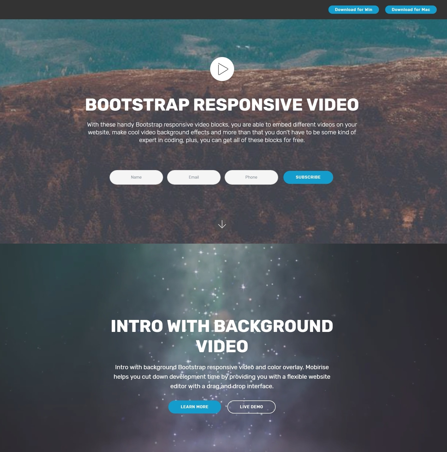 Brilliant Free Bootstrap Modal Video Backgrounds and Toggle