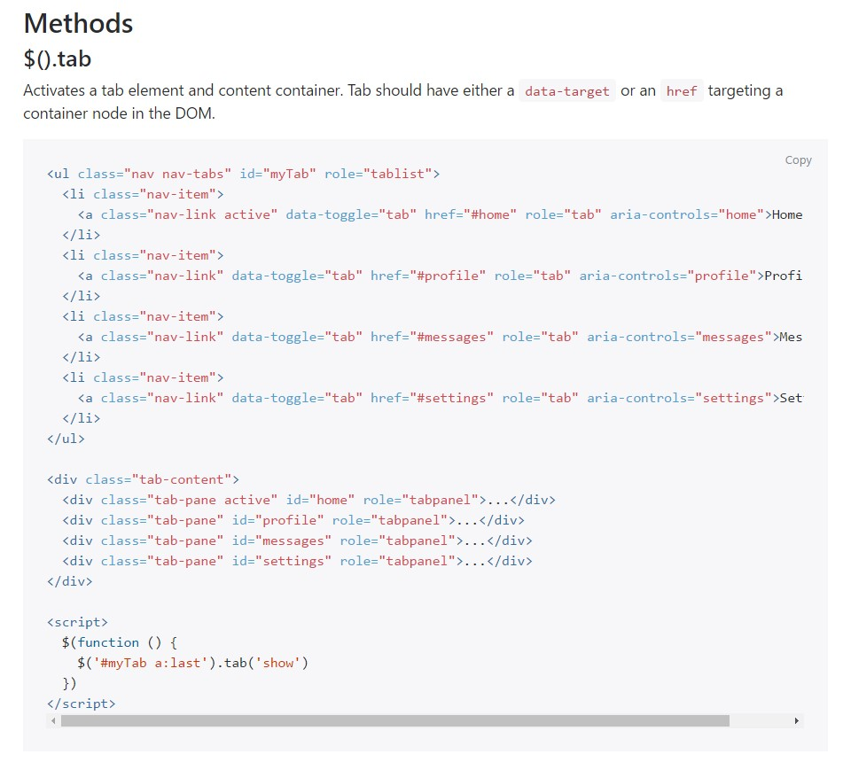 Bootstrap Nav-tabs:official documentation