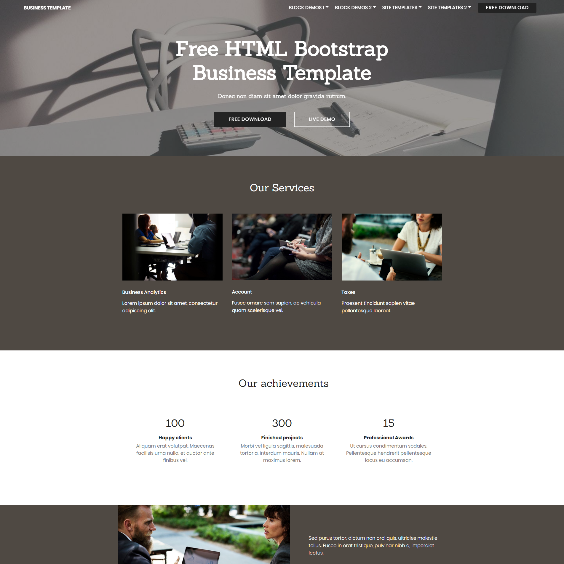 HTML Bootstrap Business Themes