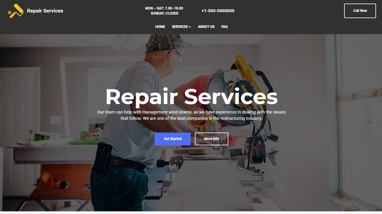AMP HTML Repair Services Template