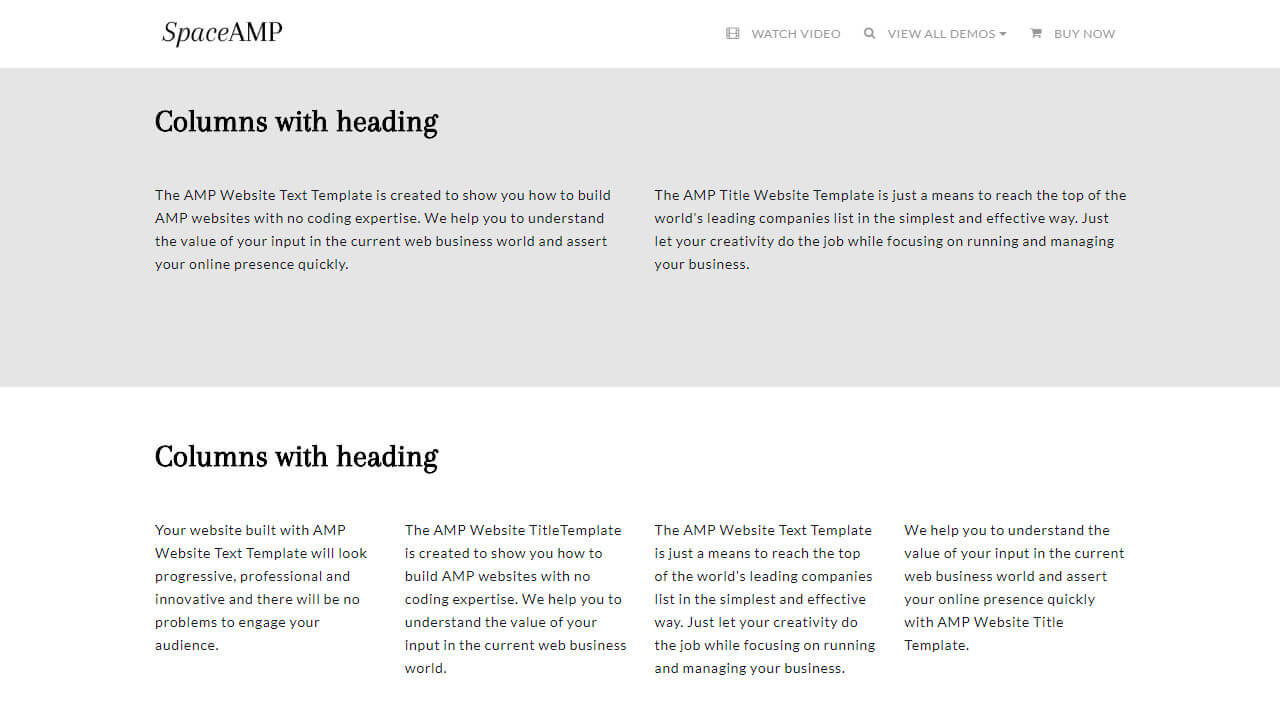 AMP Site Text & Titles Template